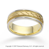 14k Two Tone Gold Fine Milgrain Braided Wedding Band